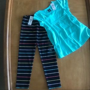 Gap NWT  Size 4T Teal Top & Striped Navy legging
